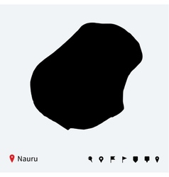 High detailed map of nauru with navigation pins vector