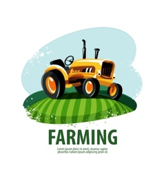 Tractor logo design template harvest or farm icon vector