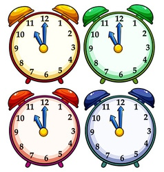 Four colourful clocks vector