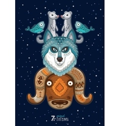 Wild totem animal husky vector