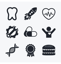 Medical icons pills tooth dna and cardiogram vector