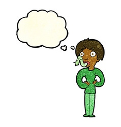 Cartoon woman sticking out tongue with thought vector