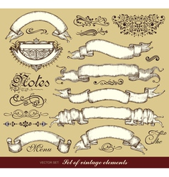 set of old ribbons calligraphic design elements vector image