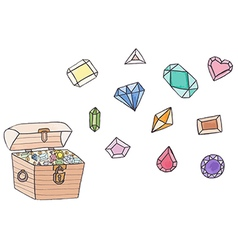 Treasure chest full of gold coins and gems vector