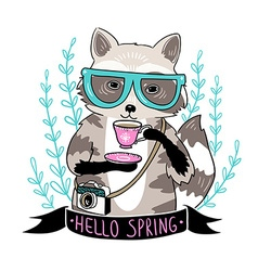 Hipster raccoon raccoon with coffee and glasses vector