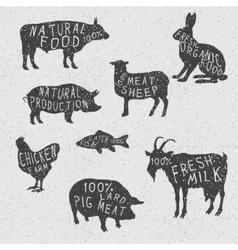 silhouettes collection of the farm animals vector image