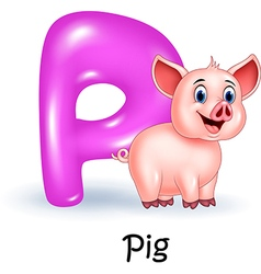 Cartoon p of letter for pig vector