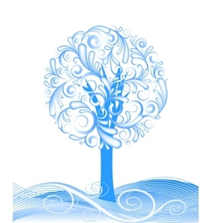 beautiful winter tree design vector image vector image