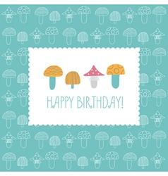 Birthday card multicolored mushrooms vector
