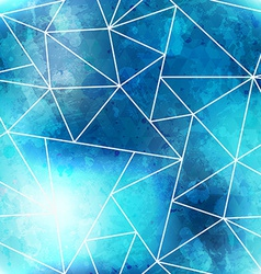 Blue triangle seamless pattern with grunge effect vector
