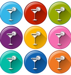 Buttons with wineglasses vector