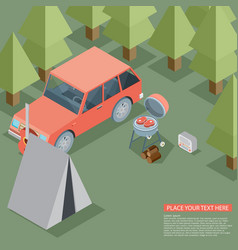 camping travel outdoor active vacation flat 3d vector image vector image