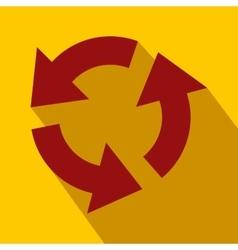 Circular red arrows flat icon vector image vector image