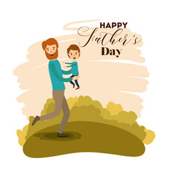 Colorful card of dad enjoying with her son on the vector