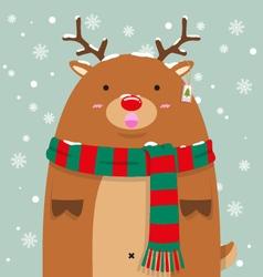 Cute fat big reindeer rudolf vector