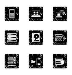 Data protection icons set grunge style vector
