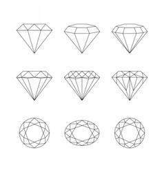 Diamonds gemstones faceting patterns vector