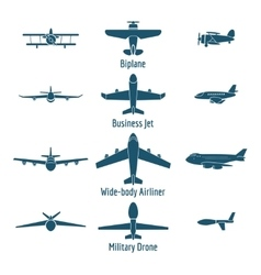 Different airplanes types vector