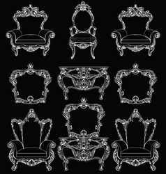 Exquisite fabulous imperial baroque furniture set vector