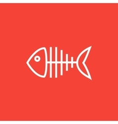 Fish skeleton line icon vector image vector image