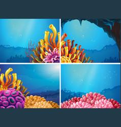 four scenes under the ocean vector image