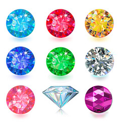 Gemstone jewerly set vector