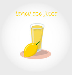 glass of bio fresh lemon juice vector image