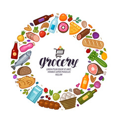 Grocery store banner food drinks set icons vector
