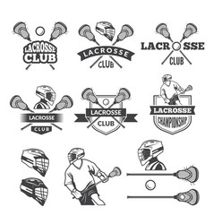 labels of lacrosse club monochrome vector image vector image