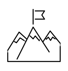 Line mountains with flag arrow success icon vector