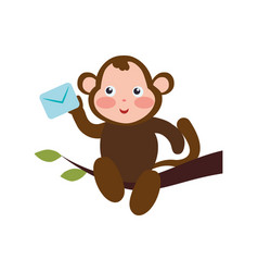 Monkey cartoon delivering envelope vector