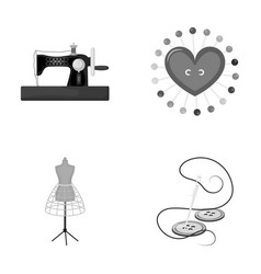 Needle and thread sewing machine pincushion vector