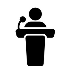 Public speaking icon male person on podium vector