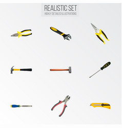 realistic scissors carpenter forceps and other vector image vector image