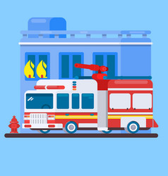 Red fire truck or fire engine flat vector