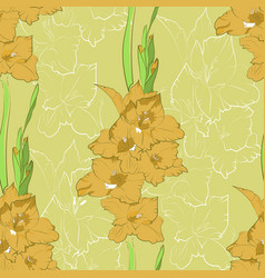 seamless pattern from yellow gladiolus vector image vector image