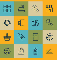 Set of 16 commerce icons includes money transfer vector