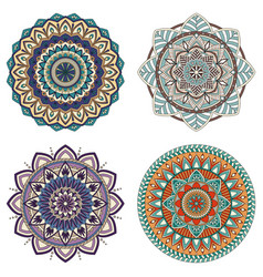 set of color floral mandalas vector image