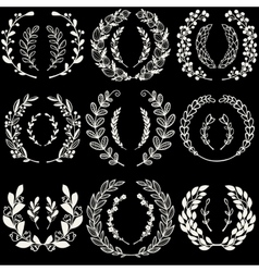 Set of handdrawn laurels and wreaths vector