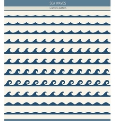 Set of seamless patterns with stylized waves vector image vector image