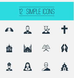 Set of simple religion icons vector