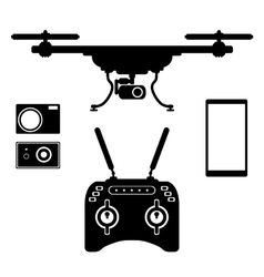 Silhouette drones with remote control eps 10 vector image vector image