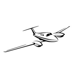 small private twin engine airplane vector image vector image