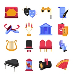 Theatre Icons Set vector image vector image
