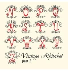 Vintage alphabet set letters part 2 vector image
