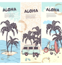 Vintage summer and travel banners vector image