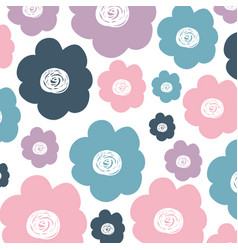 White background with colorful pattern of flowers vector