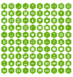 100 gym icons hexagon green vector