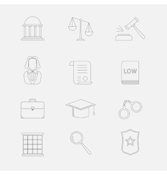 Law and justice thin line icons the legal vector