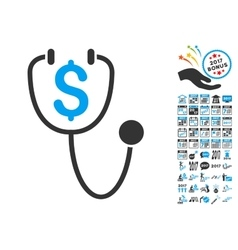 Dollar Health Icon With 2017 Year Bonus Pictograms vector image